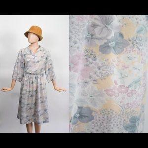 Vintage Pastel Floral Midi Dress Sheer Spring